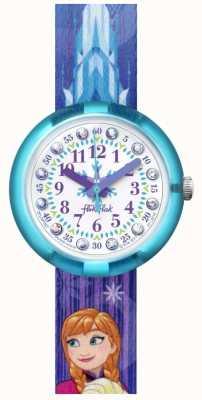 Flik Flak | Disney Frozen Elsa & Anna | blauwe stoffen band met print | FLNP027
