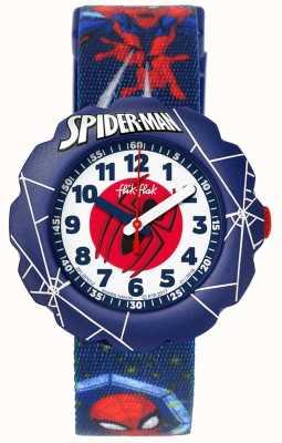 Flik Flak | spider-man in actie | blauwe band met stoffen print | FLSP012