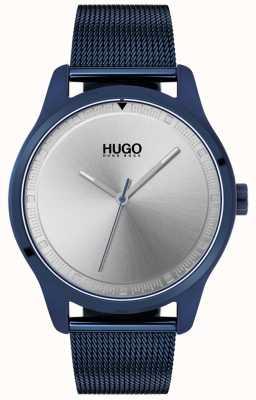 HUGO #bewegen | blauwe ip mesh armband | blauwe wijzerplaat | 1530045