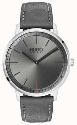 HUGO #exist | grijze lederen band | grijze wijzerplaat | 1520009
