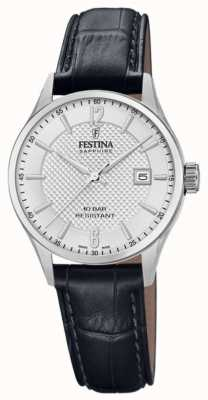 Festina | dames zwitsers gemaakt | zwarte lederen band | zilveren wijzerplaat | F20009/1