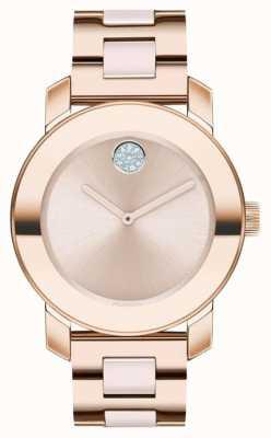 Movado Vet | rosé vergulde armband | rosé gouden wijzerplaat | 3600639