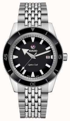 Rado XL 'Captain Cook' roestvrijstalen armband zwarte wijzerplaat R32505153