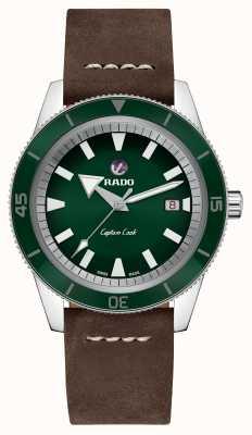 Rado XL 'Captain Cook' bruine lederen band groene wijzerplaat R32505315