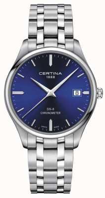 Certina Ds-8 chronometer | roestvrij stalen armband | blauwe wijzerplaat | C0334511104100