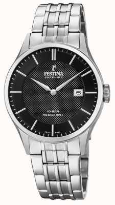 Festina | Zwitserse makelij voor heren | roestvrijstalen armband | zwarte wijzerplaat F20005/4