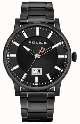 Police | heren collin | zwarte roestvrijstalen armband | zwarte wijzerplaat 15404JSB/02M