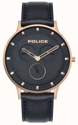 Police | heren Berkeley | donkerblauw leer | blauwe wijzerplaat 15968JSR/03