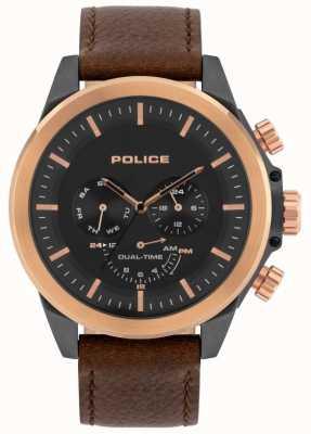 Police | heren belmont | bruine lederen band | zwarte wijzerplaat | 15970JSUR/02