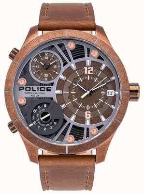 Police | heren bushmaster | bruine lederen band | bruine wijzerplaat | 15662XSQR/12