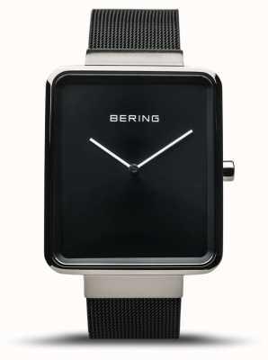 Bering | heren klassieker zwarte mesh armband | zwarte wijzerplaat | 14533-102