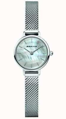 Bering | damesschrijver uit de klassieke oudheid stalen gaas armband | parelmoer 11022-004
