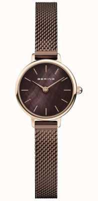 Bering | damesschrijver uit de klassieke oudheid bruine mesh armband | parelmoer 11022-265