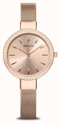Bering | klassieker voor dames | rose gouden mesh | bezel met kristallen 16831-366