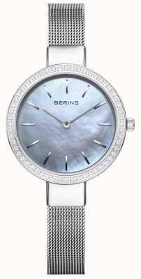 Bering | damesschrijver uit de klassieke oudheid zilveren mesh armband | kristal set bezel 16831-004