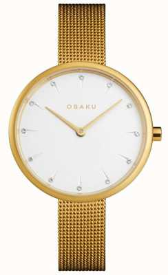 Obaku | dames notat goud | gouden gaas armband | witte wijzerplaat | V223LXGIMG