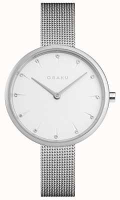 Obaku | dames notat staal | zilveren mesh armband | witte wijzerplaat | V233LXCIMC