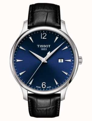 Tissot | heren traditie | zwarte lederen band | blauwe wijzerplaat | T0636101604700