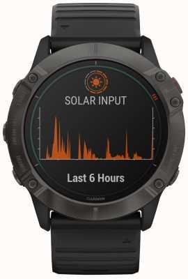 Garmin Fenix 6x pro solar titanium | carbon grey dlc | zwarte band 010-02157-21