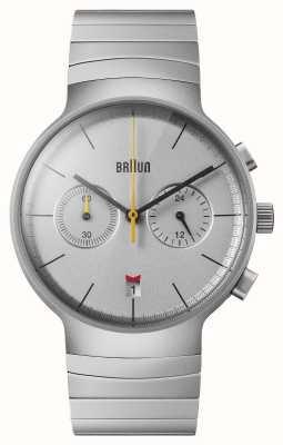 Braun Heren chrono | zilveren wijzerplaat | roestvrij stalen armband BN0265SLBTG