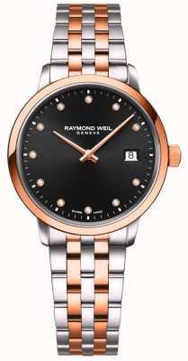 Raymond Weil | toccata voor dames | tweekleurige armband | zwarte diamant set 5985-SP5-20081