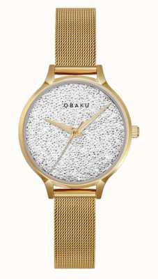 Obaku | dames jerner goud | gouden gaas armband | kristallen wijzerplaat V238LXGWMG