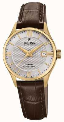 Festina | dames zwitsers gemaakt | bruine lederen band | zilveren wijzerplaat | F20011/2