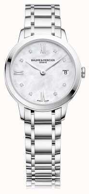 Baume & Mercier Classima diamant | roestvrij stalen armband parelmoer M0A10326