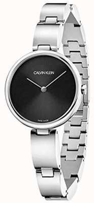 Calvin Klein | roestvrij stalen armband voor dames | zwarte wijzerplaat | K9U23141