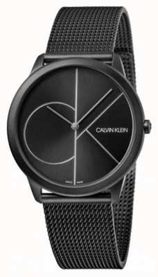 Calvin Klein | minimaal | zwarte stalen gaasarmband | zwarte wijzerplaat K3M5145X