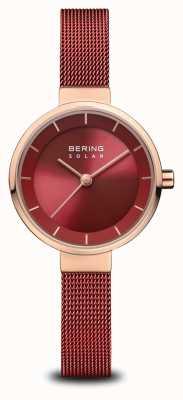 Bering | dames zonne-energie | gepolijst rosé goud | rood gaas | rode wijzerplaat | 14627-363