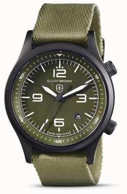 Elliot Brown Heren | canford | groene wijzerplaat | groene stoffen band 202-024-N08