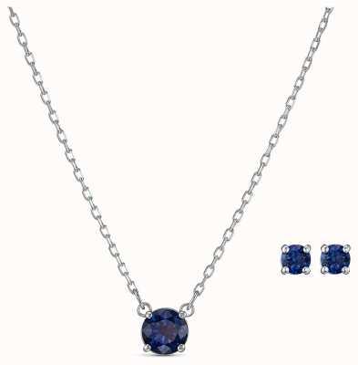 Swarovski | aantrekken ronde set | blauwe ketting en oorbellen | 5536554
