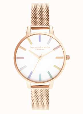 Olivia Burton | dames | regenboog | roségouden armband van mesh | OB16RB24