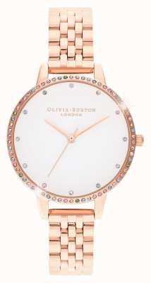 Olivia Burton | dames | regenboog bezel | rosé gouden armband | OB16RB21