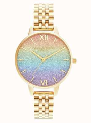 Olivia Burton | regenboog glitter wijzerplaat | gouden armband | OB16RB23