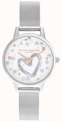 Olivia Burton Roségouden en zilveren armband van gaas OB16LH12