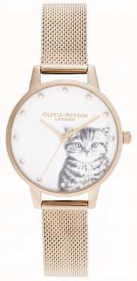 Olivia Burton Parelachtig geïllustreerd katje nam gouden netwerk toe OB16WL88
