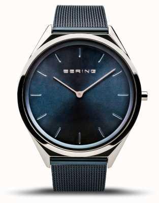 Bering | unisex | ultraslank | blauwe mesh armband | 17039-307