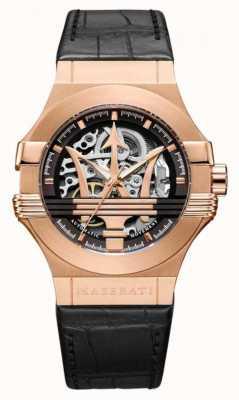 Maserati Potenza | zwarte lederen band | rosé goud pvd vergulde kast | R8821108030