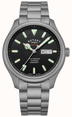 Rotary Heren henley | titanium armband | zwarte wijzerplaat | GB05249/04