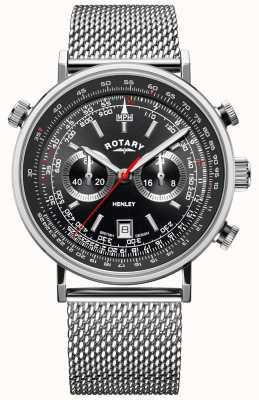 Rotary Heren henley | stalen gaas armband | zwarte wijzerplaat | GB05235/04