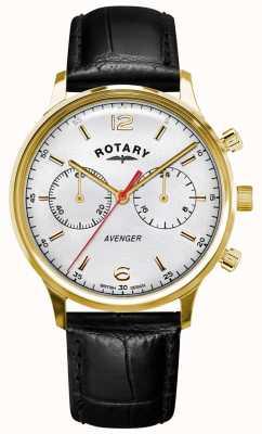 Rotary Wreker heren | zwarte lederen band | gouden kast | witte wijzerplaat GS05206/70