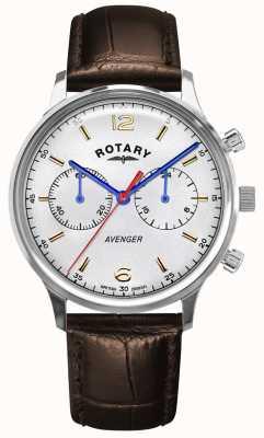 Rotary Wreker heren | bruine lederen band | zilveren wijzerplaat GS05203/70