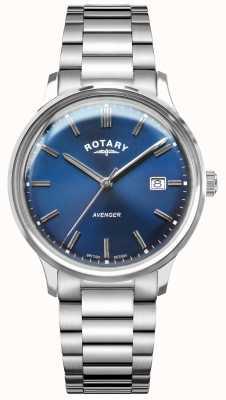 Rotary Wreker heren | roestvrij stalen armband | blauwe wijzerplaat GB05400/05