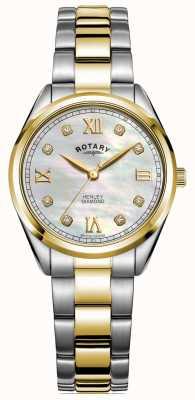 Rotary Dames henley | diamanten set wijzerplaat | tweekleurige armband | LB05111/41/D