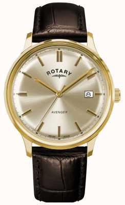 Rotary Wreker heren | bruine lederen band | champagne wijzerplaat GS05403/03