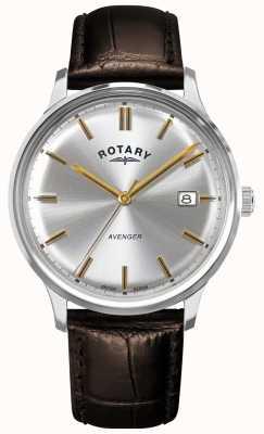 Rotary Wreker heren | bruine lederen band | zilveren wijzerplaat | GS05400/06