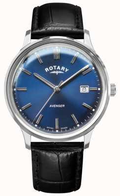 Rotary Wreker heren | zwarte lederen band | blauwe wijzerplaat | GS05400/05