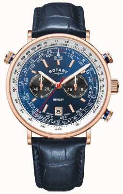 Rotary Heren henley | rosé goud pvd hoesje | blauwe lederen | blauwe wijzerplaat GS05237/05